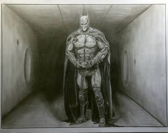 Original Graphite Pencil Drawing - Batman