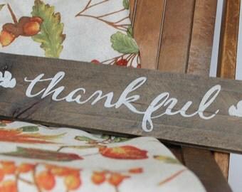 Rustic 'thankful' Wood Sign