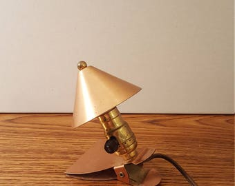 Small Copper Light with Book Clip, Lighting, Home Decor, Office Decor, Task Light