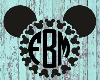 Mickey Monogram Decal/Mickey/Disney/Monograms/Mickey Decal/Disney Decal/Monogram Decal