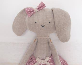 Rabbit Handmade Doll - cloth dolls, stuffed toy, plush rabbit, stuffed bunny doll, linen dolls, decorative toy, baby girl gift.
