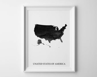 Usa Watercolor Map United States Map United States Print United States Art Colorful Map Usa Print