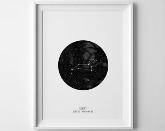 leo print, leo poster, leo constellation, leo zodiac, constellation print, leo wall art, leo gift, astrology print, leo star sign, leo sign