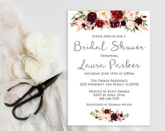 Bridal Shower Invitation INSTANT DOWNLOAD, Watercolor, roses, marsala, Editable Bridal Shower Invite Template,