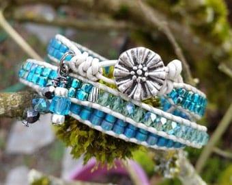 Triple Wrap Beaded Bracelet,Beaded Leather Wrap,Seed Bead Wrap Bracelet,Matsuno Seed Beads,Czech Fire Polished Beads,Greatest Joy Gifts