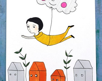 Dreamer, original illustration, children illustration, original art, wall art