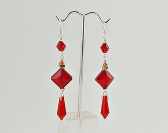 Red Crystal Earrings, long earrings, bridal earrings, dangle crystal earrings, ruby red crystal earrings,boho earrings jewelry,drop earrings