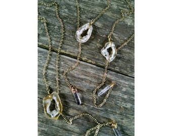 Geode slice pull necklace