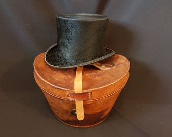 Victorian Silk Top Hat with Leather Box