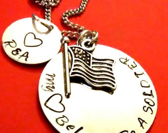 My Heart Belongs to a Soldier Necklace, Military Necklace, Deployment gift, Wife gift, Gift for Daughter, Navy, Army, Marine, USA gift