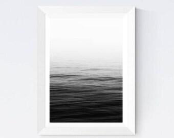 Calm ocean photo, ocean photography, ocean water, ocean surface, black and white art, ocean printable, ocean download, ocean wall poster