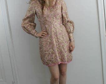 Rose Gold Dress - 60s metallic rose dress with bejewelled collar, small-medium