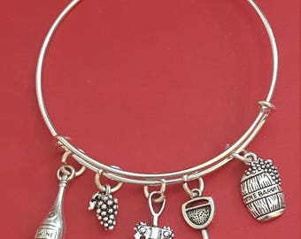 Wine Connoisseur Themed Charm Bracelet