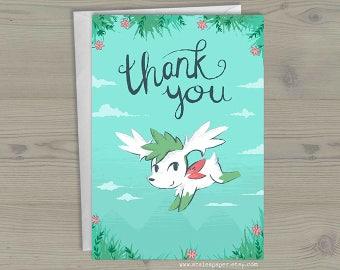 Sky Shaymin Pokemon Thank You I'm Really Grateful Geek Nerdy Anime Video Game Greeting Card