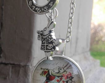 White Rabbit Cabochon Alice in Wonderland Necklace