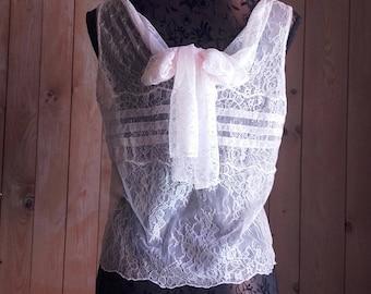 BLOUSE pink Calais lace CHANTILLY - unique - handmade - size 36
