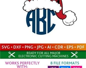 Santa Hat Svg Santa Hat Monogram Frames Svg Santa Hat Frames Cut Files Silhouette Studio Cricut ScanNCut Svg Dxf Jpg Png Eps Pdf Ai Cdr