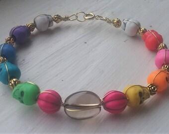 Smoky Quartz Pink Pumpkin Skull Bracelet