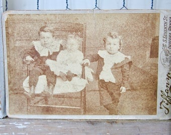 Antique Cabinet Card Photo. Children, Late 1800s Collectible Photo, Scrapbooking, Art Supply, Antique Collection, Antique Photo, Victorian