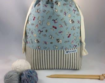 Large Knitting or Crochet Drawstring Project Bag, Work in Progress Bag, Canvas Bag. Wonderland Accessories & Gray Stripes