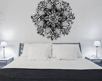 Mandala Wall Decal Mehndi Decor Mandala Wall Art Bohemian Bedroom Decor  Flower Rose Wall Decal Yoga