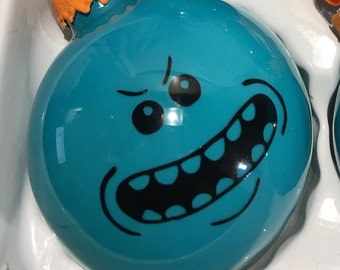 Rick and Morty Mr Meeseeks Hand Made Glass Ball Christmas Ornament - Holiday tree decoration