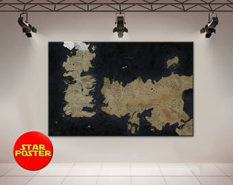 Game of Thrones, Map of The Westeros, Westeros, Game of Thrones canvas, GoT canvas, Westeros Map, GoT wall art, GoT print, Winter is coming