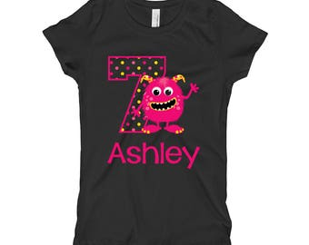Personalized 7th Birthday Shirt - Monster Birthday Shirt - Seventh Birthday Shirt 7 - Pink Monster Shirt - Girls Birthday Shirt