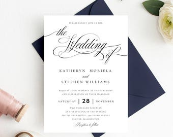 Printable Wedding Invitation Template, Classic Wedding Invitation Printable  Template, Calligraphy Invitation PDF Template Instant