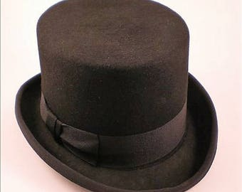 Venetian Wool Felt Top Hat – Black