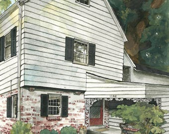 Custom Watercolor Home Painting