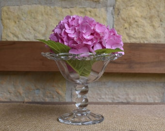 Vintage Clear Glass Open Lace Small Compote