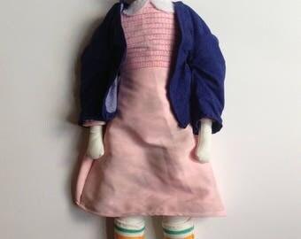 Stranger things/Eleven doll/Handmade/Fabric/Art doll/Collectible/Millie Bobby Brown/Gift/Netflix/Demogorgon/80s/Upside down/ Hawkins/present
