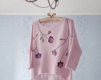 Knit jumper with hand embroidery wool alpaca silk melbourne australia quality knitwear