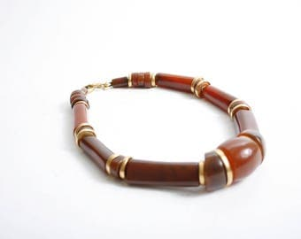 LCI Liz Claiborne International Vintage Chunky Bead Necklace Brown and Gold