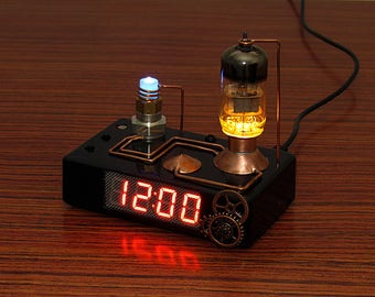 Steampunk style digital clock with vacuum tube