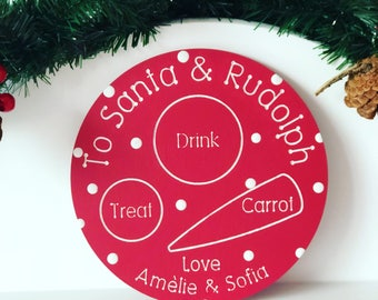 Wooden Santa And Rudolph Treat Plate,  Christmas Eve Tradition, Treats For Father Christmas, Cookies, Milk, Carrot, Engraved, Personalised
