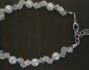 pearl and crystal bridal bracelet