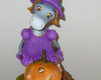 Halloween. A donkey. Pumpkin. OOAK Handmade Art Doll, sculpture Papier Mache, unique original 3D-work.