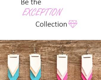 Triangle Earrings, Dangle Earrings, Blue Earrings, Pink Earrings, Wooden Earrings, White Earrings, Silver Earrings, Drop Earrings