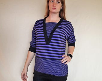 80's Simple Addition purple striped top