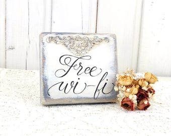 Free WIFI sign Small reclaimed wood WIFI sign Store sign Cafe free WIFI sign Vintage style wifi sign Bar sign Office wifi decor Shabby chic