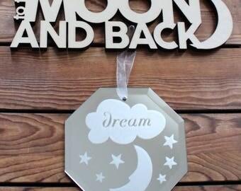 Dream,Moon & Stars,Mirror,Nursery Wall Art,Newborn Baby Gift,Baby Shower Gift,Gift For Baby,Mothers Day Gift,Baby Shower Decor,Gifts For Her