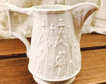 Portmeirion Parian Ware Gothic Jug  - Vintage - White - England - Porcelain