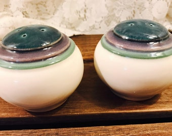 Pfaltzgraff Mountain Shadow Salt and Pepper Shaker Set - Blue Purple Green White Bands Stripes
