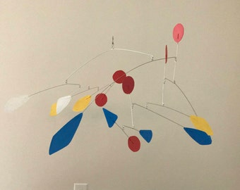 Hand-Painted Alexander Calder Inspired Mid-Century Modern Abstract Kinetic Mobile Sculpture #1