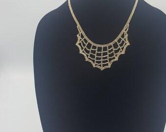 Gold & Crystal Web Necklace Set