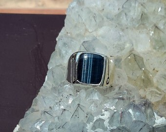 No.51  African Blue Tiger's Eye Mens Ring Size 12-1/2