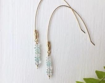 Blue Topaz Drop Crystal Earrings