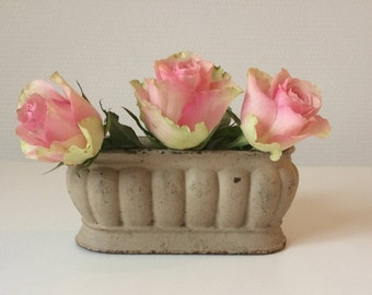 French antique cast iron Planter, Enameled cast iron jardiniere, Small cast iron planter, Metal planter,